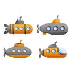 submarine icon set cartoon style vector image