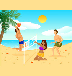 summer holiday flat concept vector image vector image