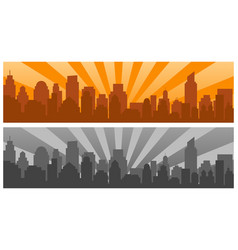 sunrise and modern silhouette city in pop art vector image