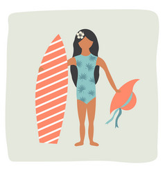 Surfer pretty girl with surfing board on the beach vector