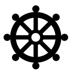 Symbol budhism wheel law religious sign icon vector