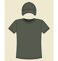 T-shirt and cap template vector