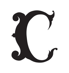 The vintage style letter C vector