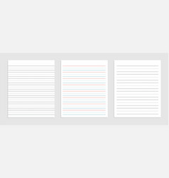 Three line english paper sheet notebook vector