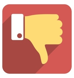 Thumb Down Flat Rounded Square Icon with Long vector