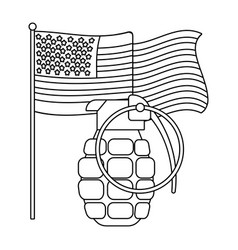 united state flag and grenade black and white vector image
