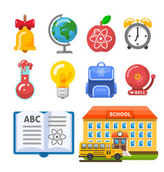 useful school building bus book and objects vector image