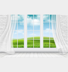view of the countryside through window vector image