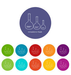 volumetric flask icon outline vector image
