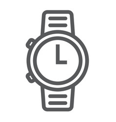 Watch line icon clock and time starp sign vector