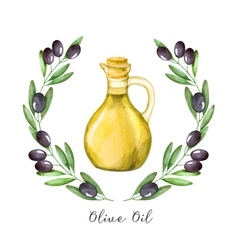 Watercolor with green olive branch and olive oil vector
