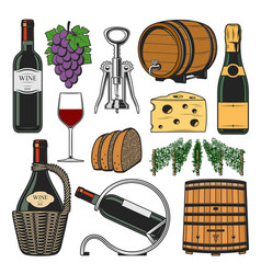 wine accessories winemaking bottle and barrel vector image