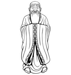 Wise man line art vector