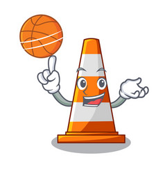 With basketball traffic cone on road cartoon shape vector