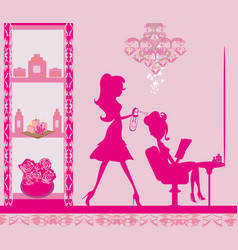 Woman in hairdressing salon vector