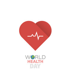 world health day and cardiogram icon vector image