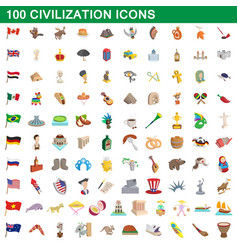 100 civilization icons set cartoon style vector image