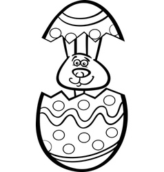 bunny in easter egg cartoon for coloring vector image vector image