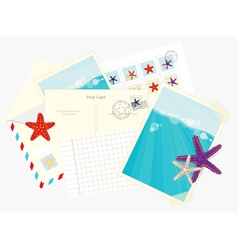 Photos postcards envelopes and starfish stickers vector image vector image