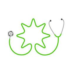 Stethoscope in shape of star in green design vector