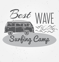 Surfing camp concept Summer surfing retro badge vector image
