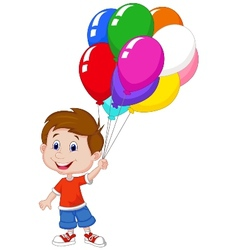 Cartoon boy with bunch of colorful balloons in his vector image