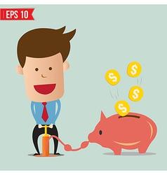 Cartoon Business man pump money - - EPS10 vector image