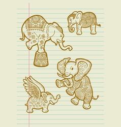 Decorative Elephant Sketches vector image vector image