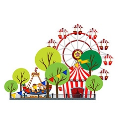 Ferris wheel and children on the ride vector image vector image