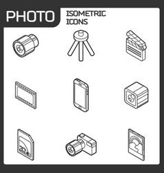 photo outline isometric icons vector image