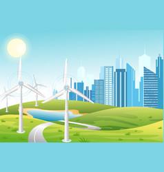 wind power plant wind turbines green energy vector image