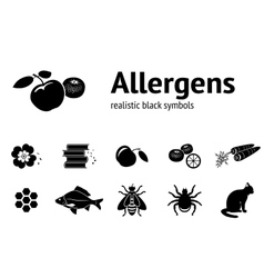 Allergen set Realistic icons from tipical food vector image