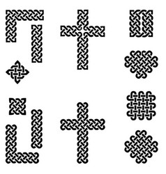celtic style endless knot symbols in black vector image vector image