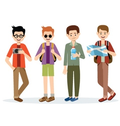 Isolated men travelers vector image