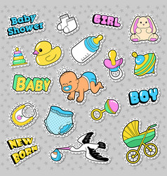 new born baby stickers patches badges vector image