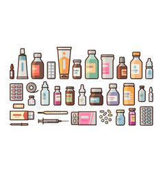 pharmacy medication bottles pills capsules set vector image