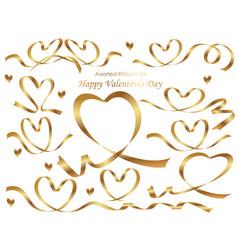 a set of heart shaped gold ribbons vector image vector image