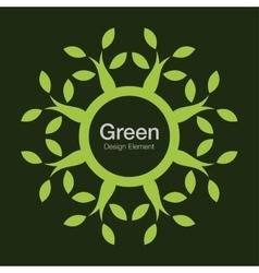Green tree round bio icon Eco organic logo vector image