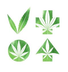 Marijuana watercolor signs vector
