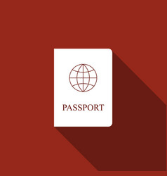 passport flat icon with long shadow vector image