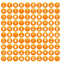 100 reader icons set orange vector