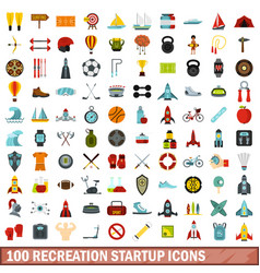 100 recreation startup icons set flat style vector image