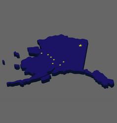 3d map flag us state alaska vector