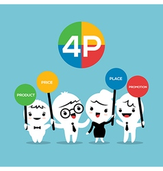 4P Marketing mix cartoon vector