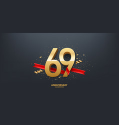 69th year anniversary background vector