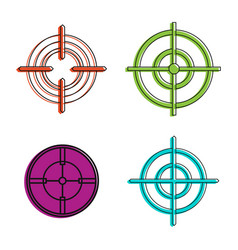 aim icon set color outline style vector image