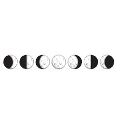 Antique style moon phases isolated vector