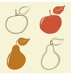 Apple and pears icons vector image