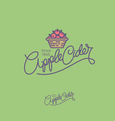 Apple cider logo hand lettering vector