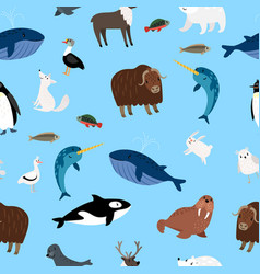 Arctic animals pattern winter ocean and snow vector